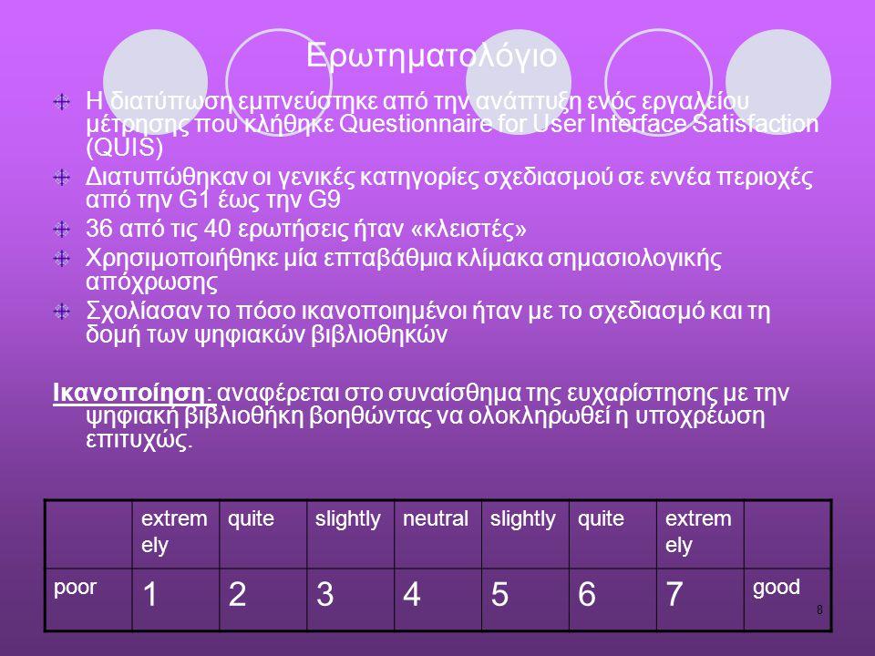 8 Ερωτηματολόγιο Η διατύπωση εμπνεύστηκε από την ανάπτυξη ενός εργαλείου μέτρησης που κλήθηκε Questionnaire for User Interface Satisfaction (QUIS) Δια