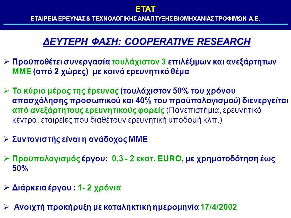 ΕΤΑΤ ΕΤΑΙΡΕΙΑ ΕΡΕΥΝΑΣ & ΤΕΧΝΟΛΟΓΙΚΗΣ ΑΝΑΠΤΥΞΗΣ ΒΙΟΜΗΧΑΝΙΑΣ ΤΡΟΦΙΜΩΝ Α.Ε. ΔΕΥΤΕΡΗ ΦΑΣΗ: COOPERATIVE RESEARCH  Προϋποθέτει συνεργασία τουλάχιστον 3 επι