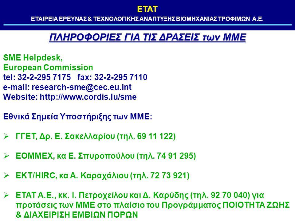 ΕΤΑΤ ΕΤΑΙΡΕΙΑ ΕΡΕΥΝΑΣ & ΤΕΧΝΟΛΟΓΙΚΗΣ ΑΝΑΠΤΥΞΗΣ ΒΙΟΜΗΧΑΝΙΑΣ ΤΡΟΦΙΜΩΝ Α.Ε. ΠΛΗΡΟΦΟΡΙΕΣ ΓΙΑ ΤΙΣ ΔΡΑΣΕΙΣ των ΜΜΕ SME Helpdesk, European Commission tel: 32