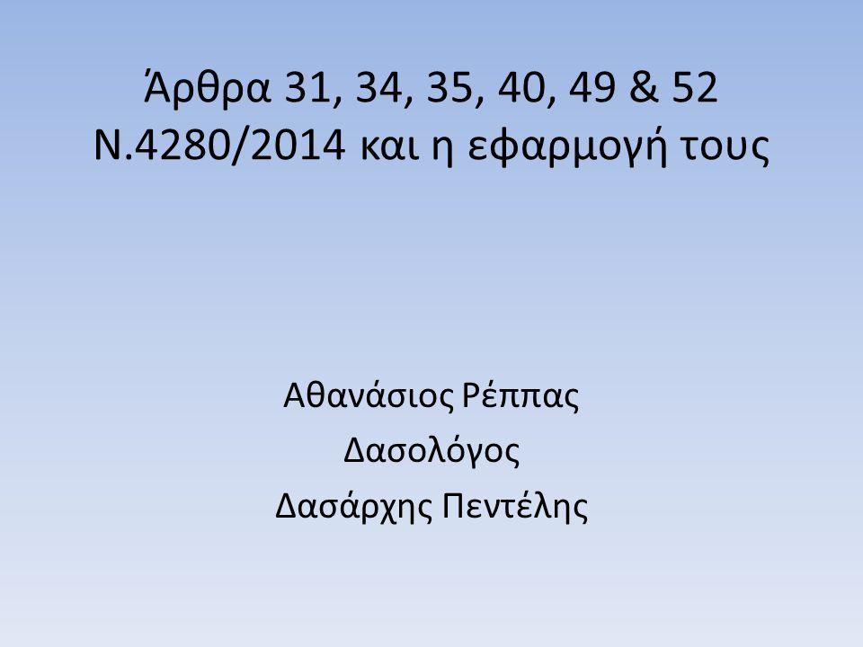 Άρθρα 31, 34, 35, 40, 49 & 52 Ν.4280/2014 και η εφαρμογή τους Αθανάσιος Ρέππας Δασολόγος Δασάρχης Πεντέλης