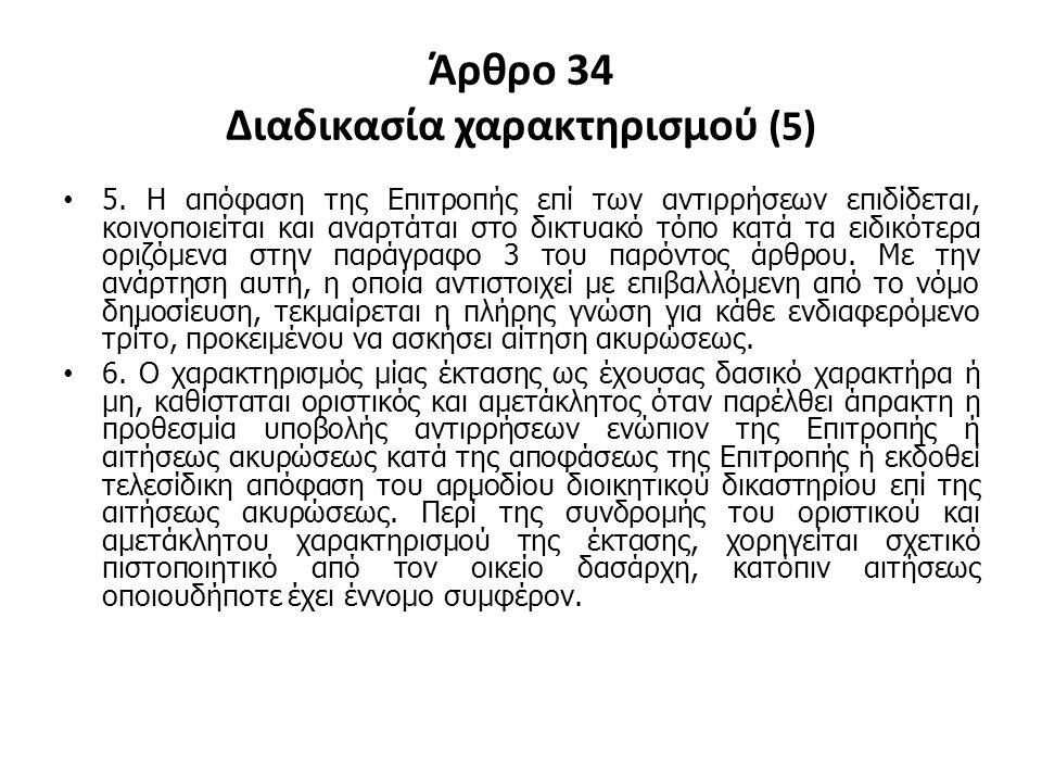 Άρθρο 34 Διαδικασία χαρακτηρισμού (5) 5. Η απόφαση της Επιτροπής επί των αντιρρήσεων επιδίδεται, κοινοποιείται και αναρτάται στο δικτυακό τόπο κατά τα
