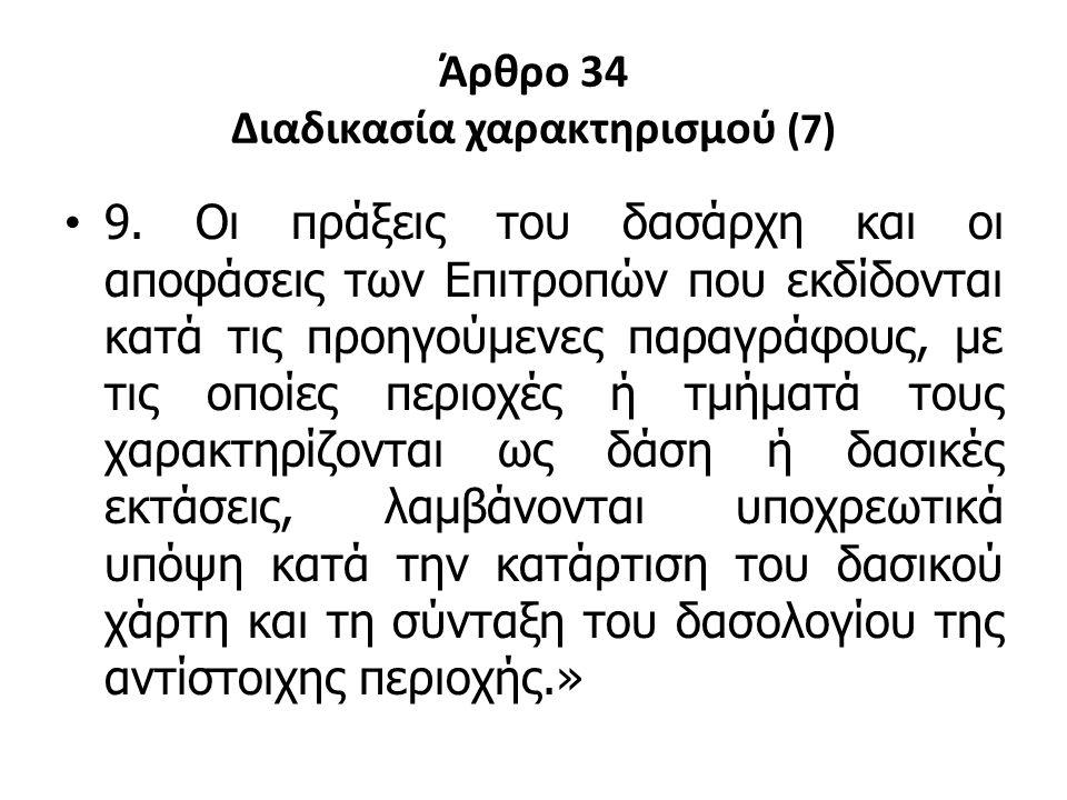 Άρθρο 34 Διαδικασία χαρακτηρισμού (7) 9. Οι πράξεις του δασάρχη και οι αποφάσεις των Επιτροπών που εκδίδονται κατά τις προηγούμενες παραγράφους, με τι