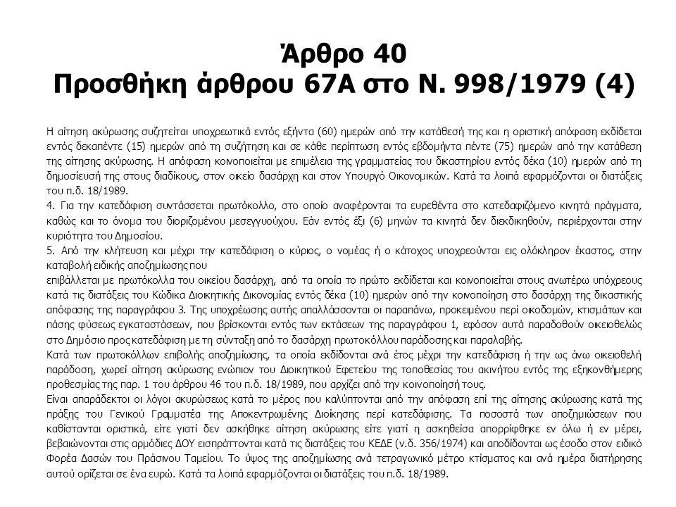 Άρθρο 40 Προσθήκη άρθρου 67Α στο Ν. 998/1979 (4) Η αίτηση ακύρωσης συζητείται υποχρεωτικά εντός εξήντα (60) ημερών από την κατάθεσή της και η οριστική