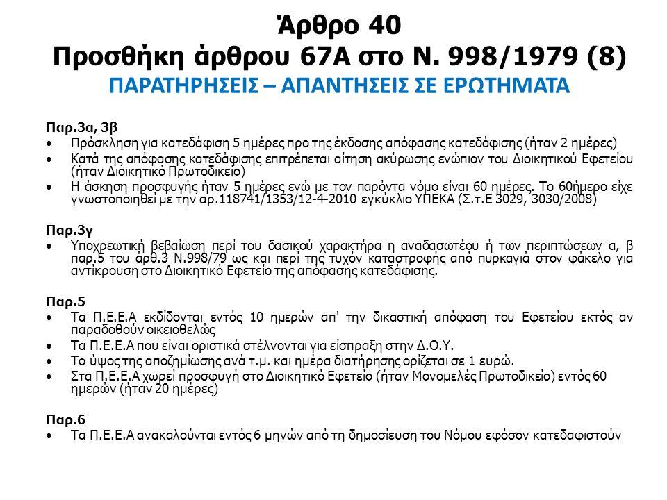 Άρθρο 40 Προσθήκη άρθρου 67Α στο Ν. 998/1979 (8) ΠΑΡΑΤΗΡΗΣΕΙΣ – ΑΠΑΝΤΗΣΕΙΣ ΣΕ ΕΡΩΤΗΜΑΤΑ Παρ.3α, 3β  Πρόσκληση για κατεδάφιση 5 ημέρες προ της έκδοσης