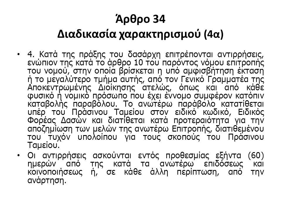 Άρθρο 34 Διαδικασία χαρακτηρισμού (4α) 4. Κατά της πράξης του δασάρχη επιτρέπονται αντιρρήσεις, ενώπιον της κατά το άρθρο 10 του παρόντος νόμου επιτρο