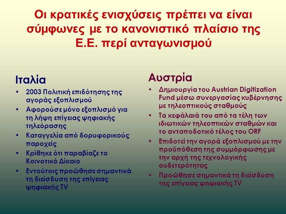 Οι κρατικές ενισχύσεις πρέπει να είναι σύμφωνες με το κανονιστικό πλαίσιο της Ε.Ε.