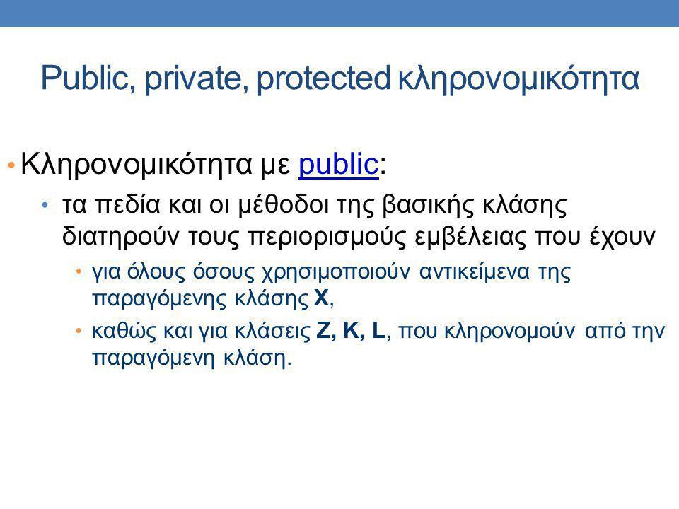 Public, private, protected κληρονομικότητα Κληρονομικότητα με public: τα πεδία και οι μέθοδοι της βασικής κλάσης διατηρούν τους περιορισμούς εμβέλειας