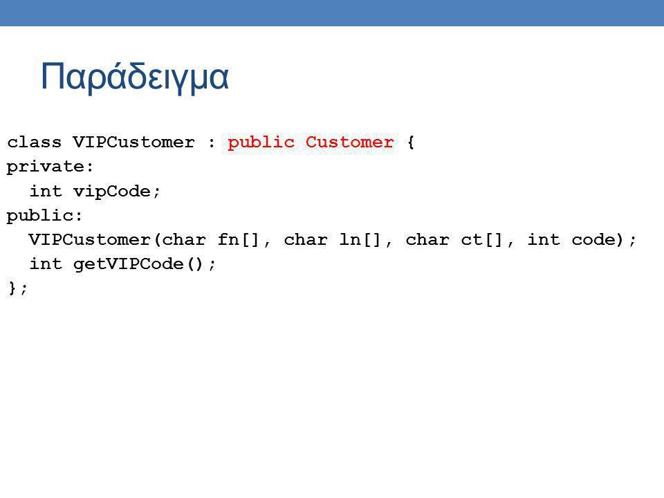 Παράδειγμα class VIPCustomer : public Customer { private: int vipCode; public: VIPCustomer(char fn[], char ln[], char ct[], int code); int getVIPCode(