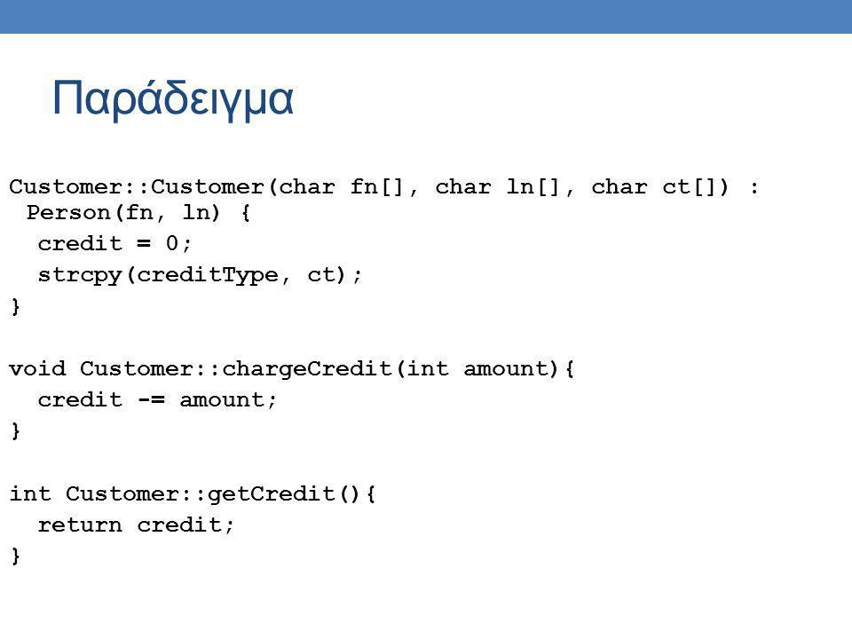 Παράδειγμα Customer::Customer(char fn[], char ln[], char ct[]) : Person(fn, ln) { credit = 0; strcpy(creditType, ct); } void Customer::chargeCredit(int amount){ credit -= amount; } int Customer::getCredit(){ return credit; }