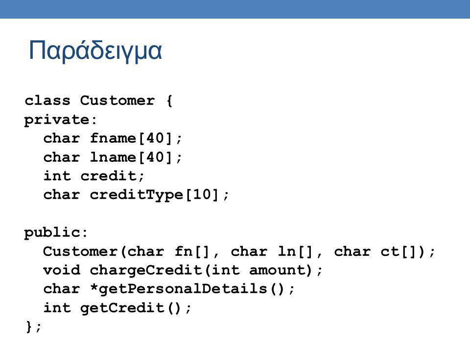 Παράδειγμα int main(){ char fname[40]; char lname[40]; int sal; int credit; cin >> fname >> lname >> sal; Employee john(fname, lname, sal); cin >> fname >> lname; Customer pet(fname, lname, VISA ); // cout << john.getPersonalDetails() << endl; // Compile error – public method BUT private inheritance cout << Salary : << john.getSalary() << endl; pet.chargeCredit(250); return 1; }