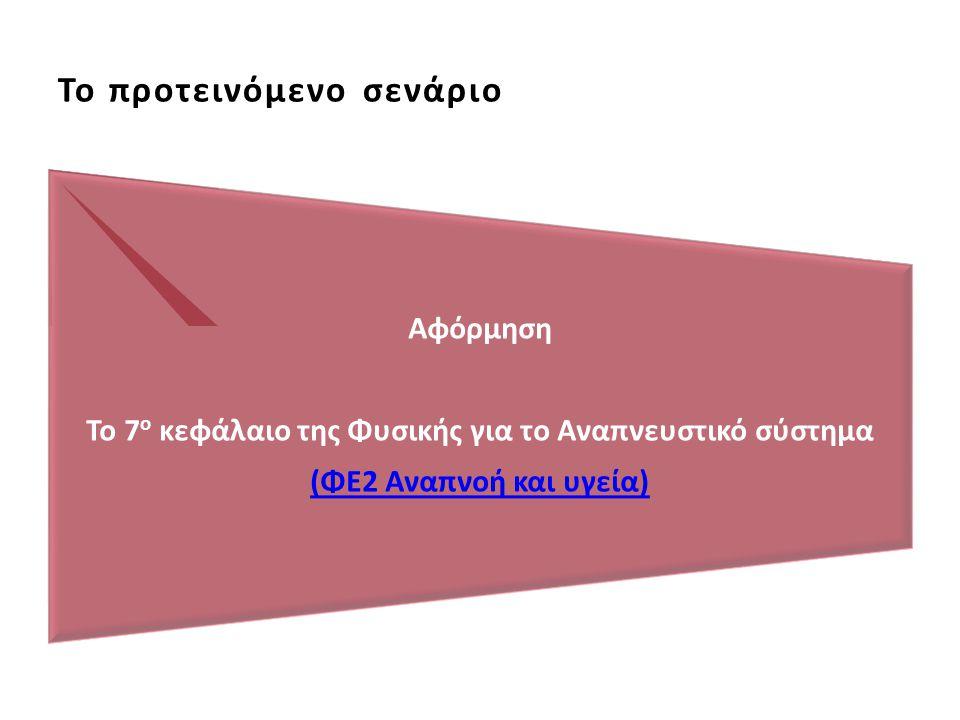Το προτεινόμενο σενάριο Αφόρμηση Το 7 ο κεφάλαιο της Φυσικής για το Αναπνευστικό σύστημα (ΦΕ2 Αναπνοή και υγεία)