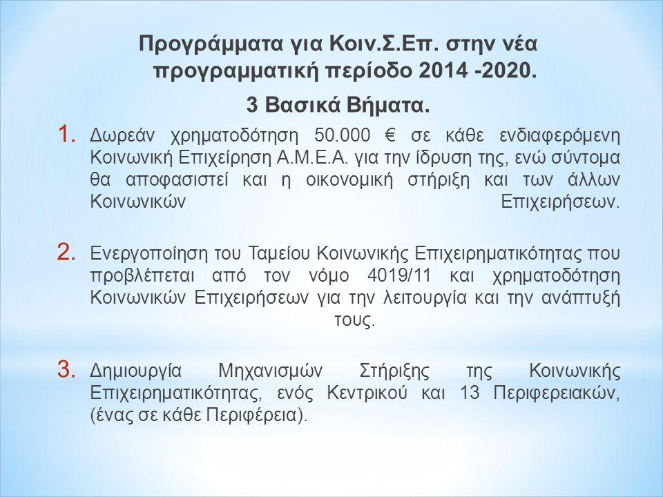 Προγράμματα για Κοιν.Σ.Επ. στην νέα προγραμματική περίοδο 2014 -2020.