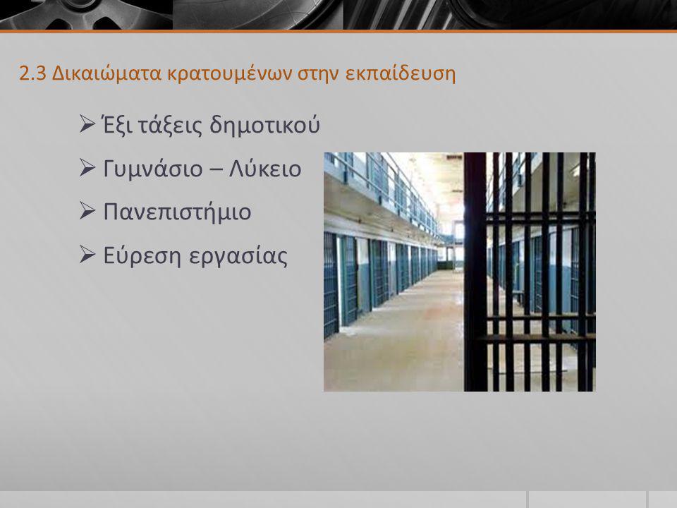 2.3 Δικαιώματα κρατουμένων στην εκπαίδευση  Έξι τάξεις δημοτικού  Γυμνάσιο – Λύκειο  Πανεπιστήμιο  Εύρεση εργασίας