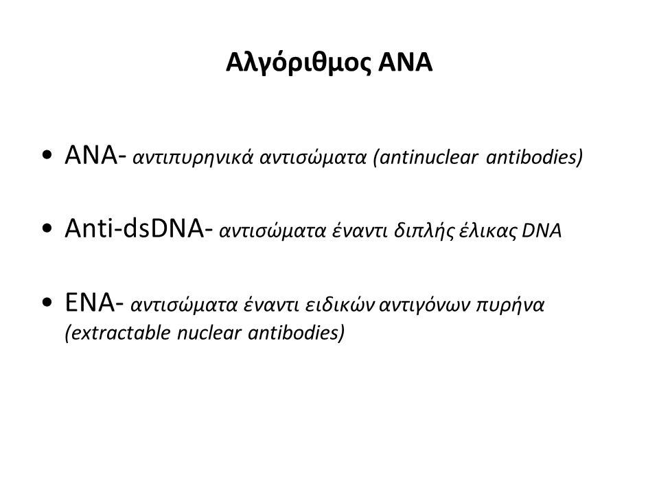 Αλγόριθμος ΑΝΑ ANA- αντιπυρηνικά αντισώματα (antinuclear antibodies) Anti-dsDNA- αντισώματα έναντι διπλής έλικας DNA ENA- αντισώματα έναντι ειδικών αντιγόνων πυρήνα (extractable nuclear antibodies)