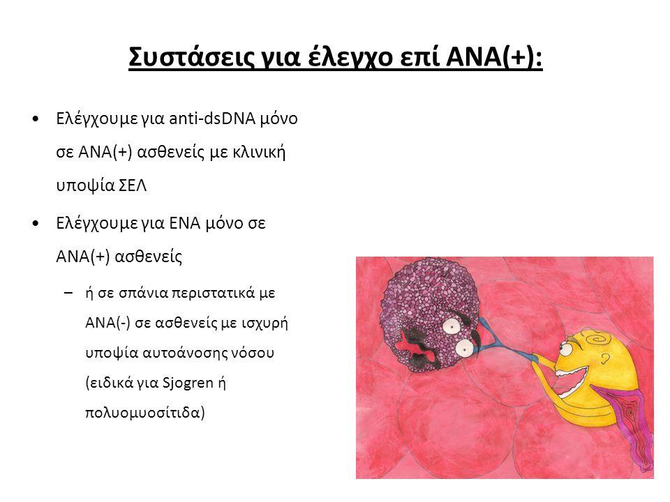 Ελέγχουμε για anti-dsDNA μόνο σε ΑΝΑ(+) ασθενείς με κλινική υποψία ΣΕΛ Ελέγχουμε για ΕΝΑ μόνο σε ΑΝΑ(+) ασθενείς –ή σε σπάνια περιστατικά με ΑΝΑ(-) σε ασθενείς με ισχυρή υποψία αυτοάνοσης νόσου (ειδικά για Sjogren ή πολυομυοσίτιδα) Συστάσεις για έλεγχο επί ΑΝΑ(+):