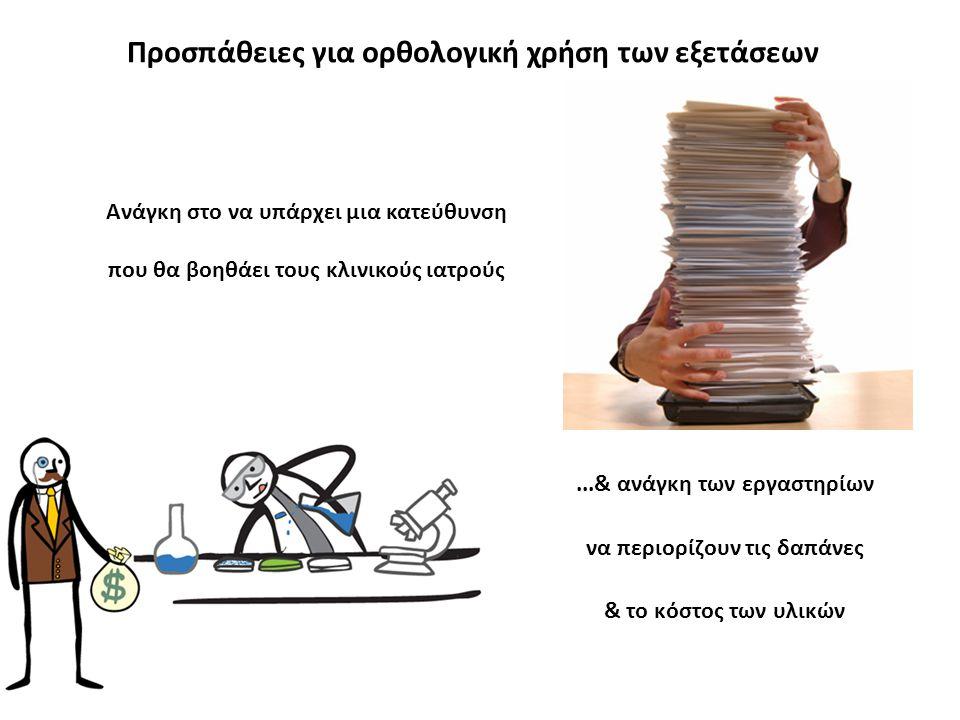 ...& ανάγκη των εργαστηρίων να περιορίζουν τις δαπάνες & το κόστος των υλικών Προσπάθειες για ορθολογική χρήση των εξετάσεων Ανάγκη στο να υπάρχει μια κατεύθυνση που θα βοηθάει τους κλινικούς ιατρούς