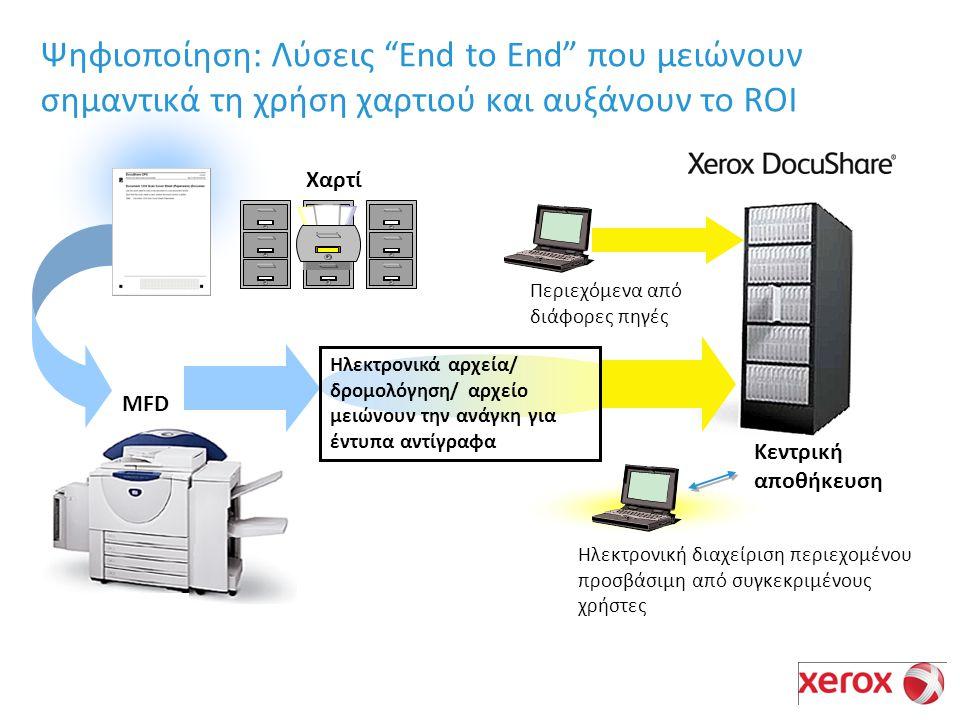 Κεντρική αποθήκευση Χαρτί Ηλεκτρονική διαχείριση περιεχομένου προσβάσιμη από συγκεκριμένους χρήστες Ηλεκτρονικά αρχεία/ δρομολόγηση/ αρχείο μειώνουν την ανάγκη για έντυπα αντίγραφα Περιεχόμενα από διάφορες πηγές Ψηφιοποίηση: Λύσεις End to End που μειώνουν σημαντικά τη χρήση χαρτιού και αυξάνουν το ROI MFD