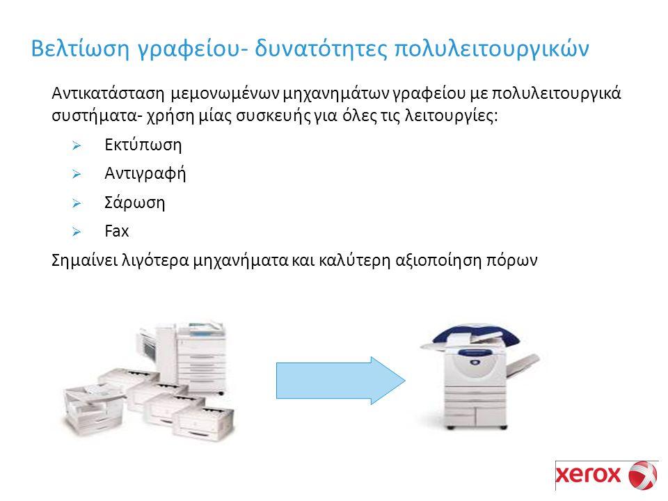 Αντικατάσταση μεμονωμένων μηχανημάτων γραφείου με πολυλειτουργικά συστήματα- χρήση μίας συσκευής για όλες τις λειτουργίες:  Εκτύπωση  Αντιγραφή  Σάρωση  Fax Σημαίνει λιγότερα μηχανήματα και καλύτερη αξιοποίηση πόρων Βελτίωση γραφείου- δυνατότητες πολυλειτουργικών