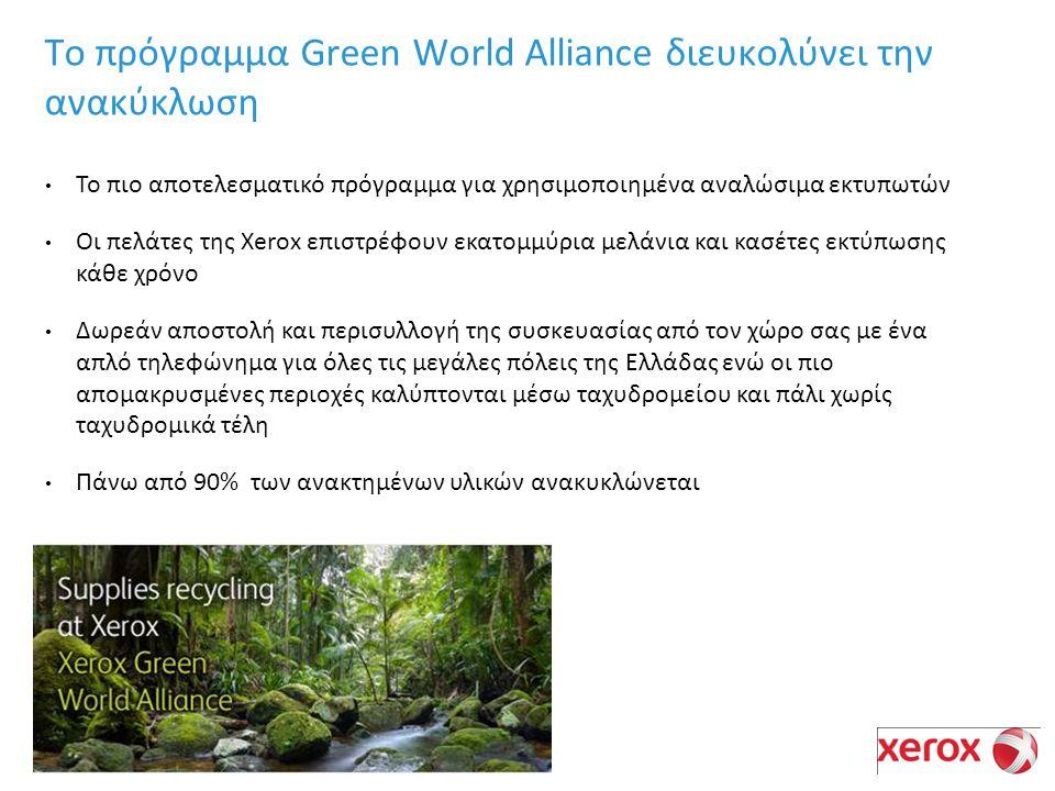 Το πιο αποτελεσματικό πρόγραμμα για χρησιμοποιημένα αναλώσιμα εκτυπωτών Οι πελάτες της Xerox επιστρέφουν εκατομμύρια μελάνια και κασέτες εκτύπωσης κάθε χρόνο Δωρεάν αποστολή και περισυλλογή της συσκευασίας από τον χώρο σας με ένα απλό τηλεφώνημα για όλες τις μεγάλες πόλεις της Ελλάδας ενώ οι πιο απομακρυσμένες περιοχές καλύπτονται μέσω ταχυδρομείου και πάλι χωρίς ταχυδρομικά τέλη Πάνω από 90% των ανακτημένων υλικών ανακυκλώνεται Το πρόγραμμα Green World Alliance διευκολύνει την ανακύκλωση