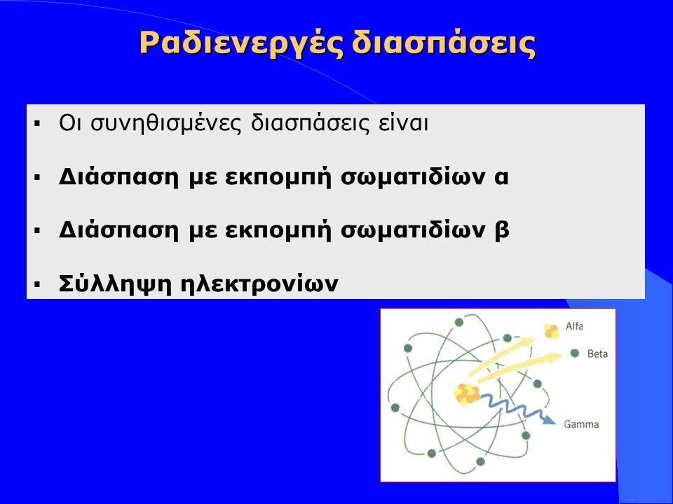 Insert your logo here Διασπάσεις με εκπομπή σωματιδίων α 4 2 Ηe  Εκπέμπεται ένα σωματίδιο α ( 4 2 Ηe)  Ο ατομικός αριθμός (Ζ) ελαττώνεται κατά 2  Ο μαζικός αριθμός (Α) ελαττώνεται κατά 4 Αρχικός μητρικός πυρήναςΘυγατρικός πυρήνας Ζ = -2 Α = -4 n p