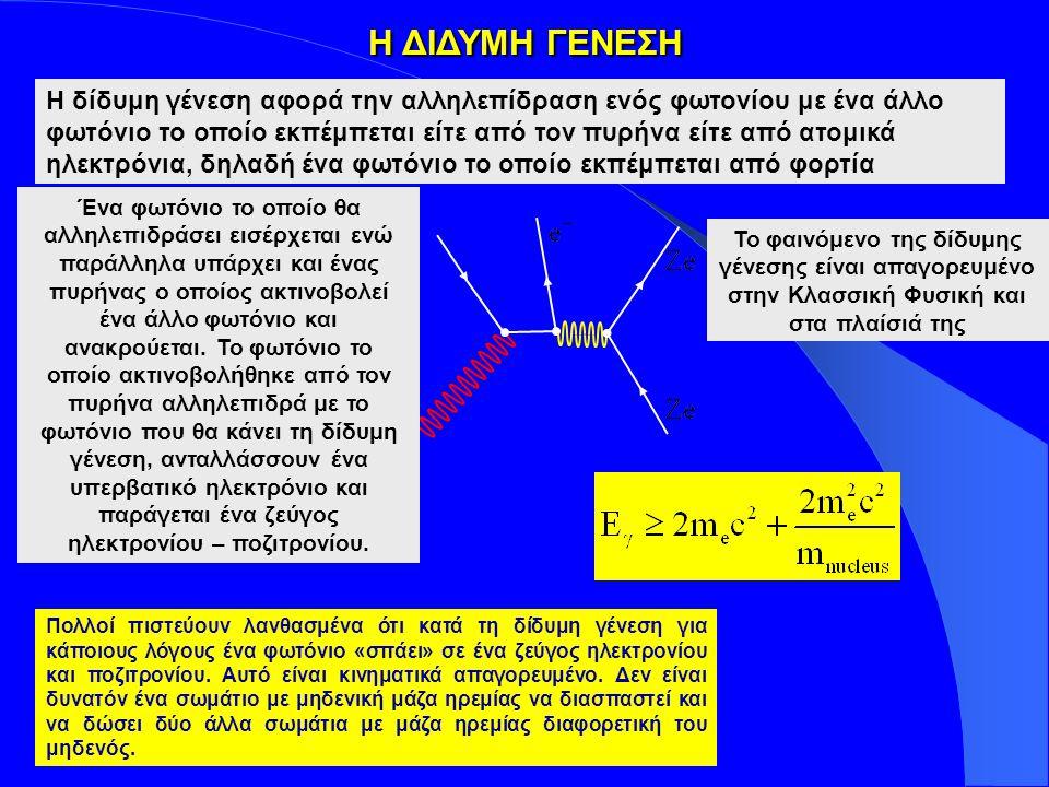 Insert your logo here ΑΛΛΗΛΕΠΙΔΡΑΣΗ ΦΩΤΟΝΙΩΝ ΜΕ ΤΗΝ ΥΛΗ σ p.e : φωτοηλεκτρικό φαινόμενο, ιονισμός του ατόμου σ Rayleigh : Σκέδαση του φωτονίου από το άτομο συνολικά (το άτομο ούτε ιονίζεται, ούτε διεγείρεται) σ Compton : Σκέδαση Compton σε ημιδέσμια ηλεκτρόνια, ιονισμός k nuc.: Δίδυμη γέννεση στο Η.Μ.