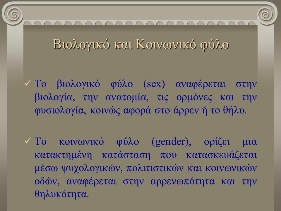 Βιολογικό και Κοινωνικό φύλο Το βιολογικό φύλο (sex) αναφέρεται στην βιολογία, την ανατομία, τις ορμόνες και την φυσιολογία, κοινώς αφορά στο άρρεν ή