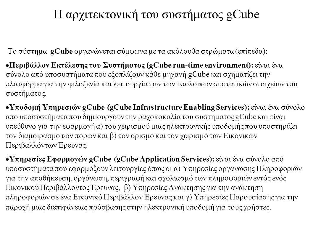 Η αρχιτεκτονική του συστήματος gCube Το σύστημα gCube οργανώνεται σύμφωνα με τα ακόλουθα στρώματα (επίπεδα):  Περιβάλλον Εκτέλεσης του Συστήματος (gC