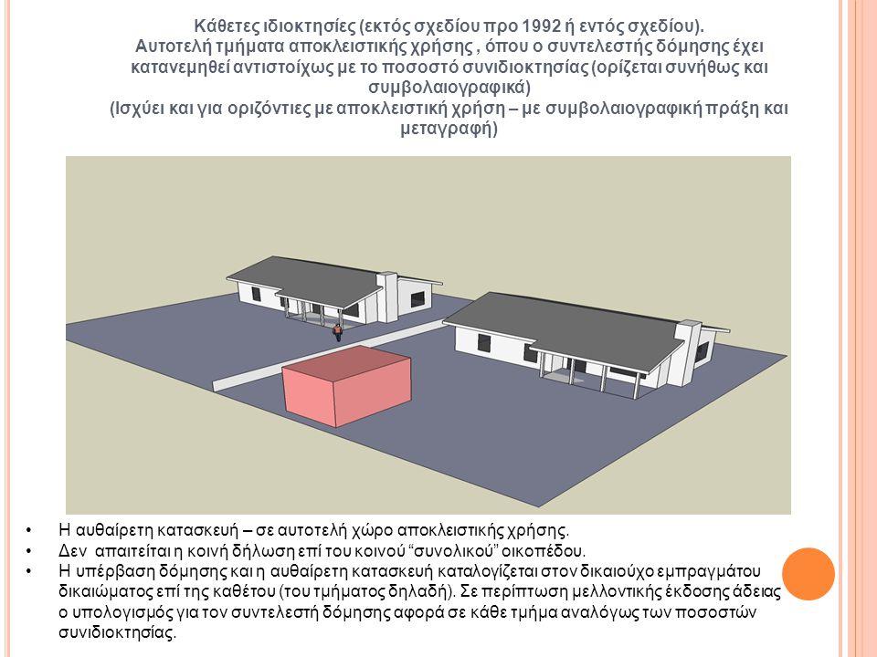 Κάθετες ιδιοκτησίες (εκτός σχεδίου προ 1992 ή εντός σχεδίου). Αυτοτελή τμήματα αποκλειστικής χρήσης, όπου ο συντελεστής δόμησης έχει κατανεμηθεί αντισ
