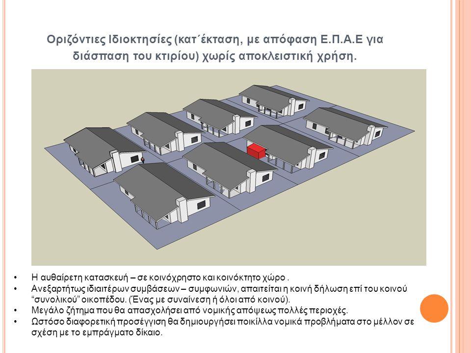 Οριζόντιες Ιδιοκτησίες (κατ΄έκταση, με απόφαση Ε.Π.Α.Ε για διάσπαση του κτιρίου) χωρίς αποκλειστική χρήση. Η αυθαίρετη κατασκευή – σε κοινόχρηστο και