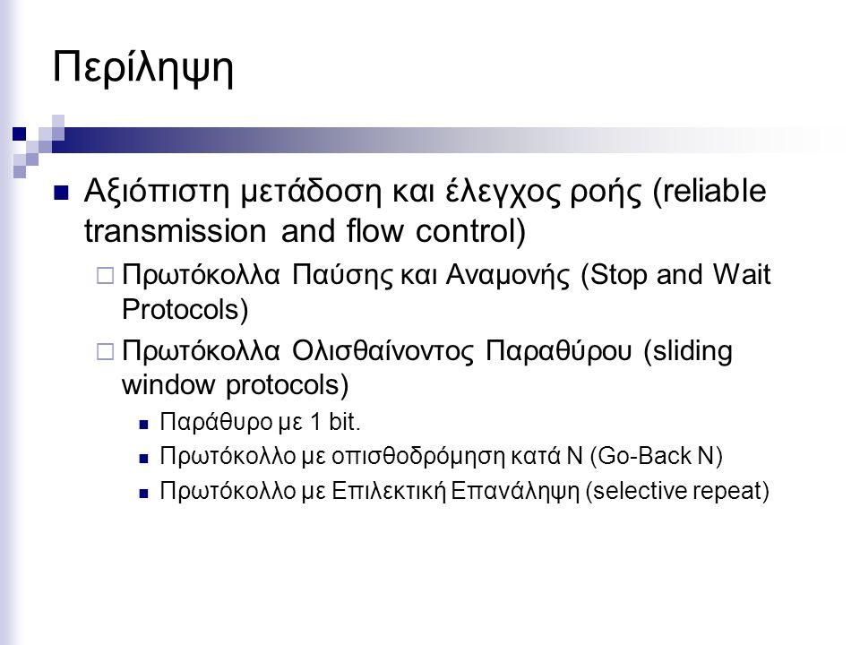 Περίληψη Αξιόπιστη μετάδοση και έλεγχος ροής (reliable transmission and flow control)  Πρωτόκολλα Παύσης και Αναμονής (Stop and Wait Protocols)  Πρωτόκολλα Ολισθαίνοντος Παραθύρου (sliding window protocols) Παράθυρο με 1 bit.