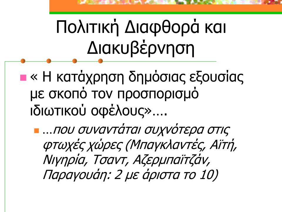 Πολιτική Διαφθορά και Διακυβέρνηση « Η κατάχρηση δημόσιας εξουσίας με σκοπό τον προσπορισμό ιδιωτικού οφέλους»….