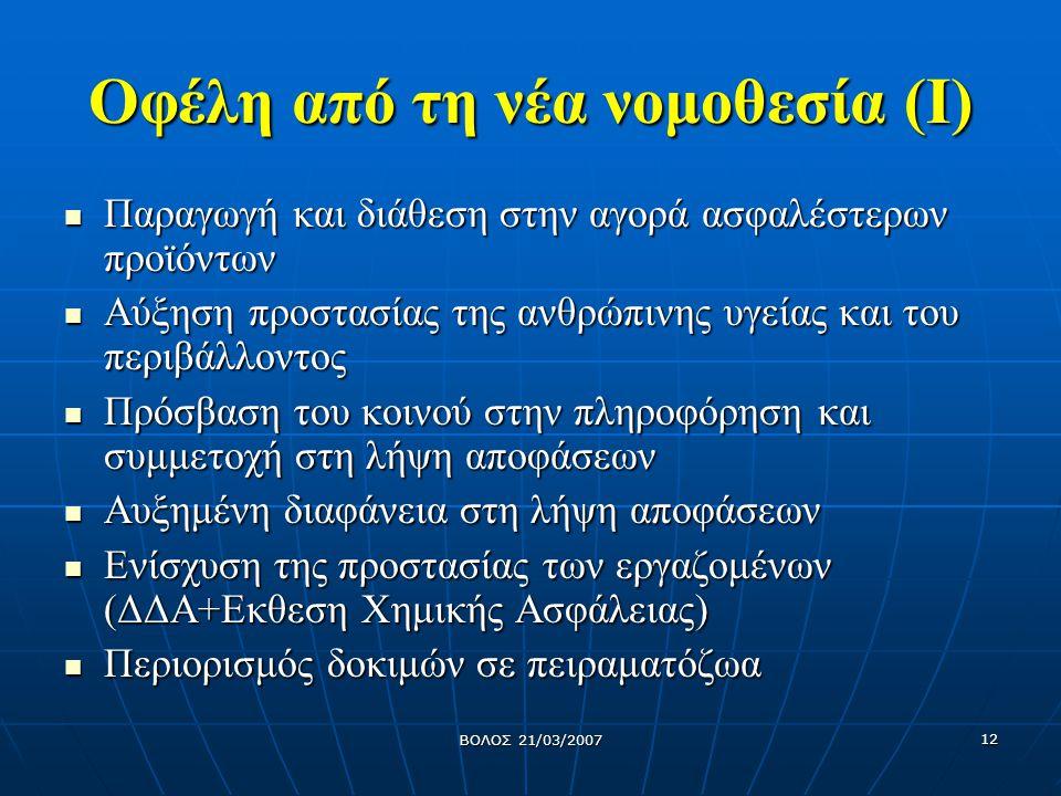 ΒΟΛΟΣ 21/03/2007 13 Οφέλη από την νέα νομοθεσία (ΙΙ) Διατήρηση και ενίσχυση της ανταγωνιστικότητας και νεωτερικότητας της ευρωπαϊκής βιομηχανίας Διατήρηση και ενίσχυση της ανταγωνιστικότητας και νεωτερικότητας της ευρωπαϊκής βιομηχανίας Διασφάλιση ενιαίας εσωτερικής αγοράς σε κοινοτικό επίπεδο Διασφάλιση ενιαίας εσωτερικής αγοράς σε κοινοτικό επίπεδο Δημιουργία νέων θέσεων εργασίας για το επιστημονικό δυναμικό Δημιουργία νέων θέσεων εργασίας για το επιστημονικό δυναμικό
