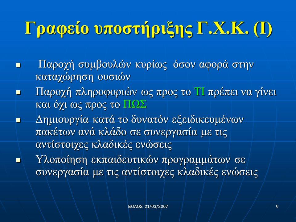 ΒΟΛΟΣ 21/03/2007 7 Γραφείο υποστήριξης Γ.Χ.Κ.