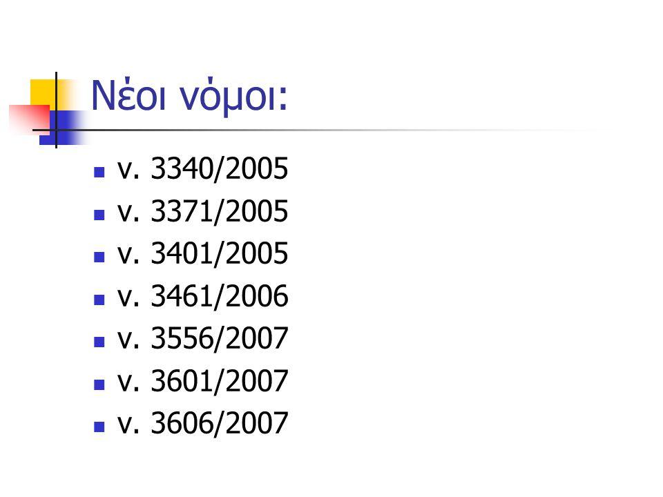 Νέοι νόμοι: ν. 3340/2005 ν. 3371/2005 ν. 3401/2005 ν. 3461/2006 ν. 3556/2007 ν. 3601/2007 ν. 3606/2007