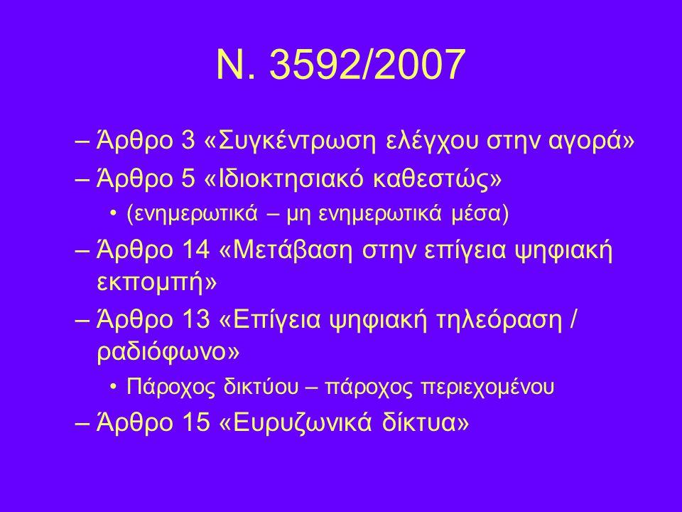 Ν. 3592/2007 –Άρθρο 3 «Συγκέντρωση ελέγχου στην αγορά» –Άρθρο 5 «Ιδιοκτησιακό καθεστώς» (ενημερωτικά – μη ενημερωτικά μέσα) –Άρθρο 14 «Μετάβαση στην ε