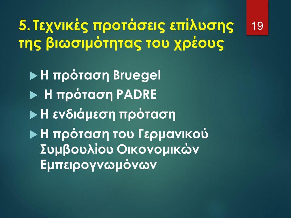 5.Τεχνικές προτάσεις επίλυσης της βιωσιμότητας του χρέους  Η πρόταση Bruegel  Η πρόταση PADRE  Η ενδιάμεση πρόταση  Η πρόταση του Γερμανικού Συμβο