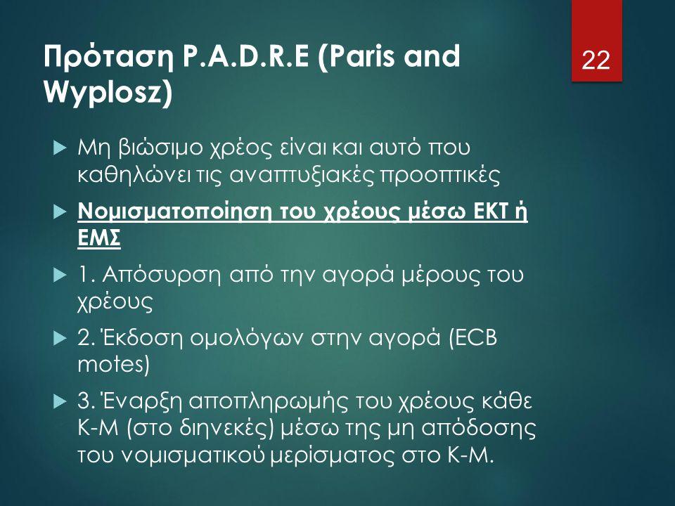 Πρόταση P.A.D.R.E (Paris and Wyplosz)  Μη βιώσιμο χρέος είναι και αυτό που καθηλώνει τις αναπτυξιακές προοπτικές  Νομισματοποίηση του χρέους μέσω ΕΚ