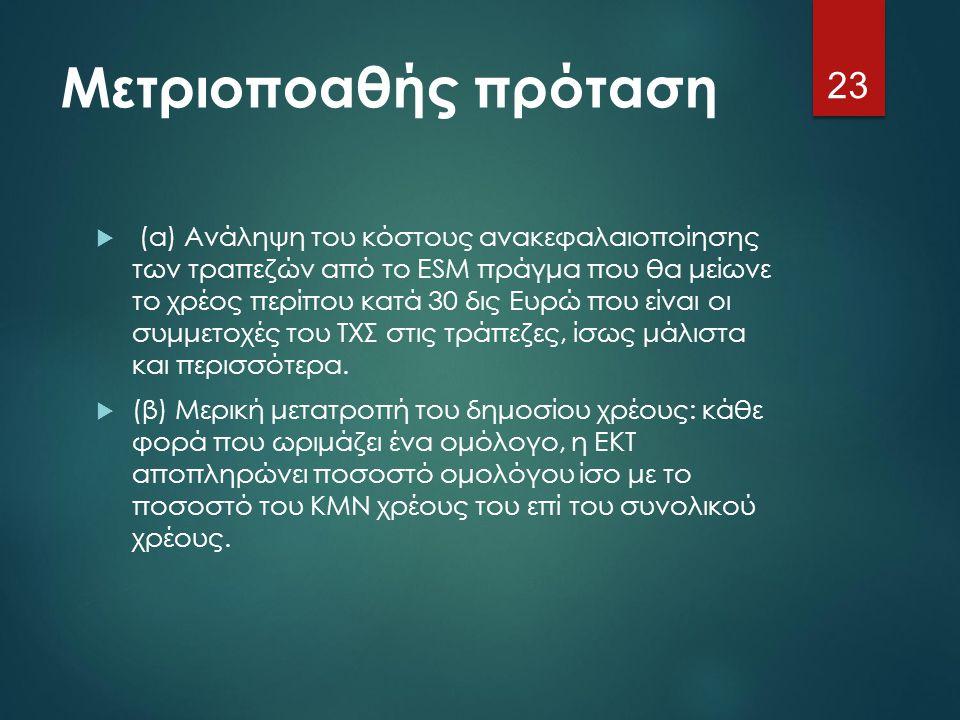 Μετριοποαθής πρόταση  (α) Ανάληψη του κόστους ανακεφαλαιοποίησης των τραπεζών από το ESM πράγμα που θα μείωνε το χρέος περίπου κατά 30 δις Ευρώ που ε