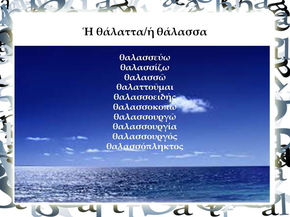 Ἡ θάλαττα/ἡ θάλασσα θαλασσεύω θαλασσίζω θαλασσῶ θαλαττοῦμαι θαλασσοειδής θαλασσοκοπῶ θαλασσουργῶ θαλασσουργία θαλασσουργός θαλασσόπληκτος
