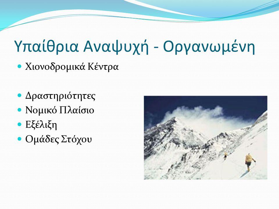 Υπαίθρια Αναψυχή - Οργανωμένη Χιονοδρομικά Κέντρα Δραστηριότητες Νομικό Πλαίσιο Εξέλιξη Ομάδες Στόχου