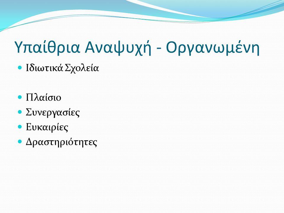 Υπαίθρια Αναψυχή - Οργανωμένη Ιδιωτικά Σχολεία Πλαίσιο Συνεργασίες Ευκαιρίες Δραστηριότητες