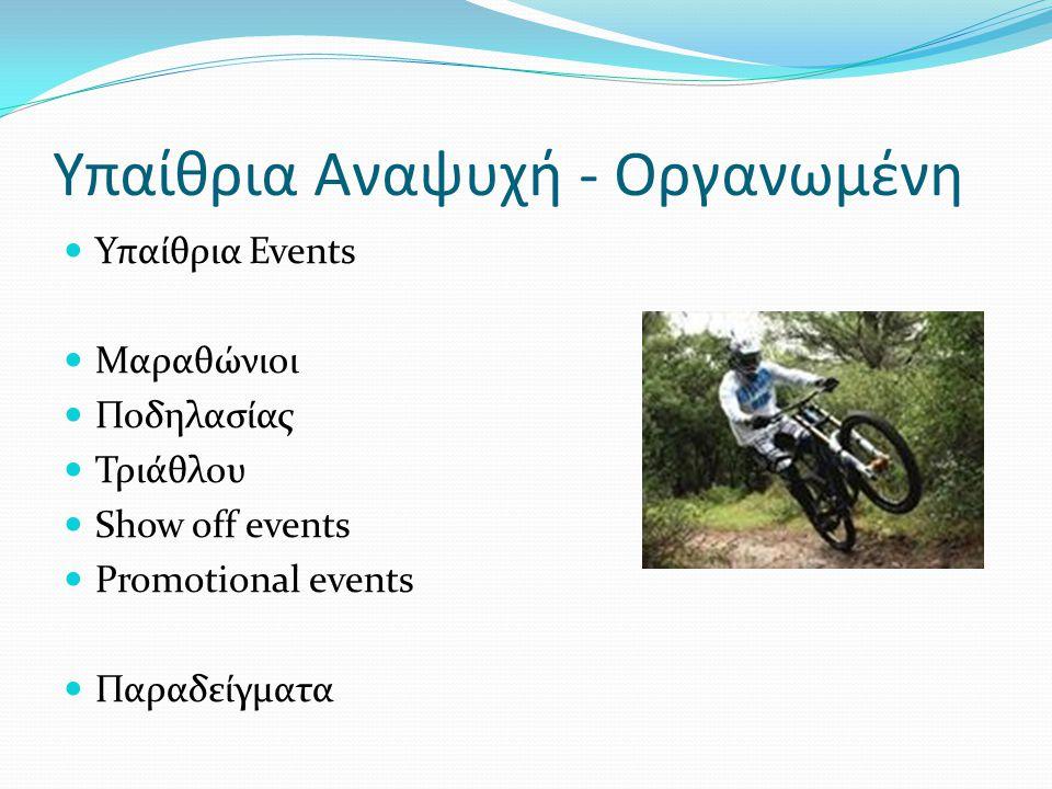 Υπαίθρια Αναψυχή - Οργανωμένη Υπαίθρια Events Μαραθώνιοι Ποδηλασίας Τριάθλου Show off events Promotional events Παραδείγματα