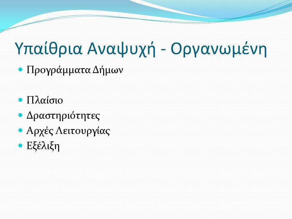 Υπαίθρια Αναψυχή - Οργανωμένη Προγράμματα Δήμων Πλαίσιο Δραστηριότητες Αρχές Λειτουργίας Εξέλιξη
