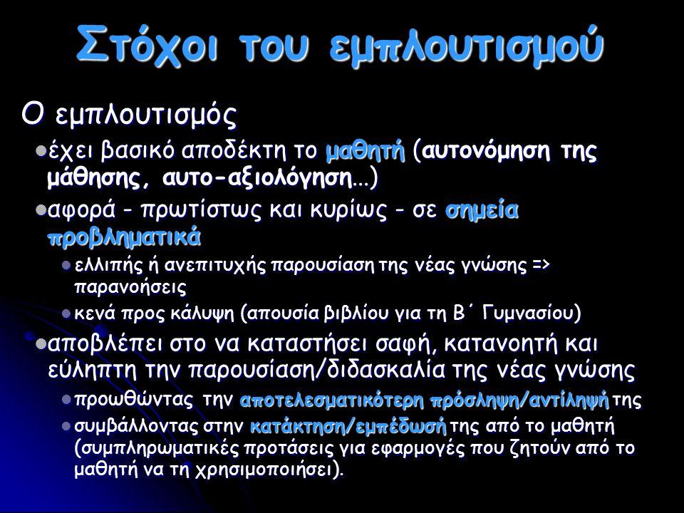 Παρουσιάσεις λεξιλογίου/Λεξικά Τύποι: Τύποι: Λεξιλόγια αρχικών διαλόγων/BD Λεξιλόγια αρχικών διαλόγων/BD Κυρίως Σημασιολογικά : θεματικό/λεξιλογικό πεδίο Κυρίως Σημασιολογικά : θεματικό/λεξιλογικό πεδίο Λεξιλογικά ισοδύναμα Λεξιλογικά ισοδύναμα διαγλωσσική (fr ⇆ grec) διαγλωσσική (fr ⇆ grec) διασημειωτική: γλωσσικά + εξωγλωσσικά σημεία (εικόνα, ήχος) διασημειωτική: γλωσσικά + εξωγλωσσικά σημεία (εικόνα, ήχος) Πολυμεσικά: Γραφή + Εικόνα +Ήχος/προφορά Πολυμεσικά: Γραφή + Εικόνα +Ήχος/προφορά Διδακτική προσέγγιση: Διδακτική προσέγγιση: απλή παρουσίαση απλή παρουσίαση απλή παρουσίαση απλή παρουσίαση (εξ)άσκηση στη χρήση του (ανάκληση-απομνημόνευση).