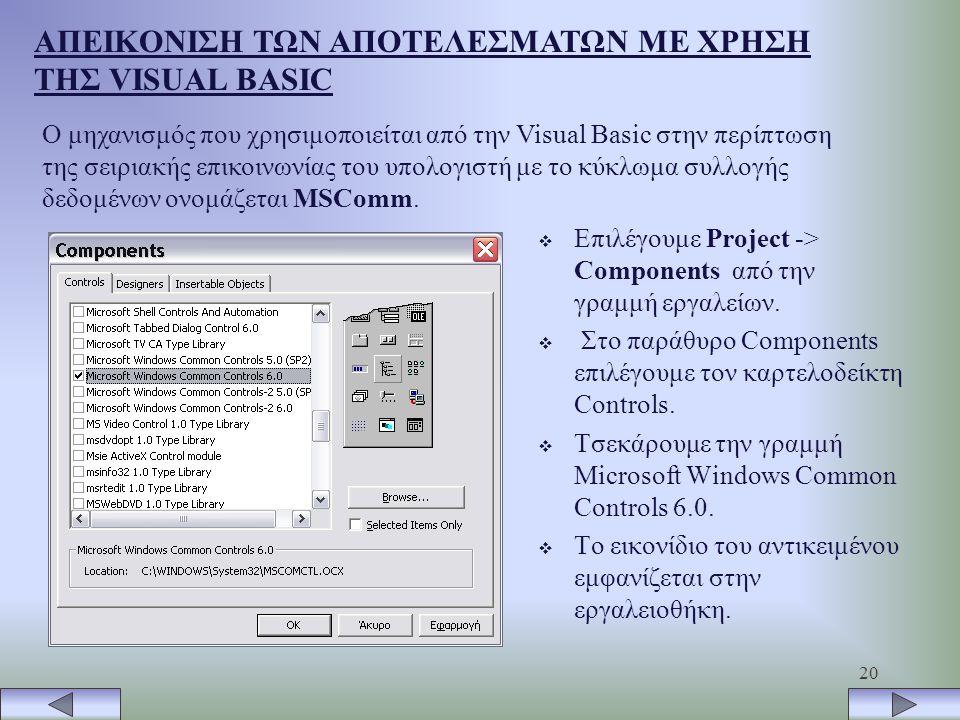 20 ΑΠΕΙΚΟΝΙΣΗ ΤΩΝ ΑΠΟΤΕΛΕΣΜΑΤΩΝ ΜΕ ΧΡΗΣΗ ΤΗΣ VISUAL BASIC Ο μηχανισμός που χρησιμοποιείται από την Visual Basic στην περίπτωση της σειριακής επικοινωνίας του υπολογιστή με το κύκλωμα συλλογής δεδομένων ονομάζεται MSComm.