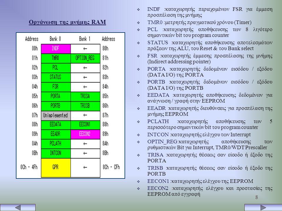 8 Οργάνωση της μνήμης RAM  INDF :καταχωρητής περιεχομένων FSR για έμμεση προσπέλαση της μνήμης  TMR0 :μετρητής πραγματικού χρόνου (Timer)  PCL :καταχωρητής αποθήκευσης των 8 λιγότερο σημαντικών bit του program counter  STATUS :καταχωρητής αποθήκευσης αποτελεσμάτων πράξεων της ALU, του Reset & του Bank select  FSR :καταχωρητής έμμεσης προσπέλασης της μνήμης (Indirect addressing pointer)  PORTA :καταχωρητής δεδομένων εισόδου / εξόδου (DATA I/O) της PORTA  PORTB :καταχωρητής δεδομένων εισόδου / εξόδου (DATA I/O) της PORTB  EEDATA :καταχωρητής αποθήκευσης δεδομένων για ανάγνωση / γραφή στην EEPROM  EEADR :καταχωρητής διευθύνσεις για προσπέλαση της μνήμης EEPROM  PCLATH :καταχωρητής αποθήκευσης των 5 περισσότερο σημαντικών bit του program counter  INTCON :καταχωρητής ελέγχου των Interrupt  OPTIN_REG:καταχωρητής αποθήκευσης των ρυθμιστικών Bit για Interrupt, TMR0/WDT Prescaller  TRISA :καταχωρητής θέσεως σαν είσοδο ή έξοδο της PORTA  TRISB :καταχωρητής θέσεως σαν είσοδο ή έξοδο της PORTB  EECON1 :καταχωρητής ελέγχου της EEPROM  EECON2 :καταχωρητής ελέγχου και προστασίας της EEPROM από εγγραφή