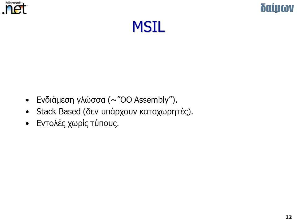 12 MSIL Ενδιάμεση γλώσσα (~ OO Assembly ).Stack Based (δεν υπάρχουν καταχωρητές).