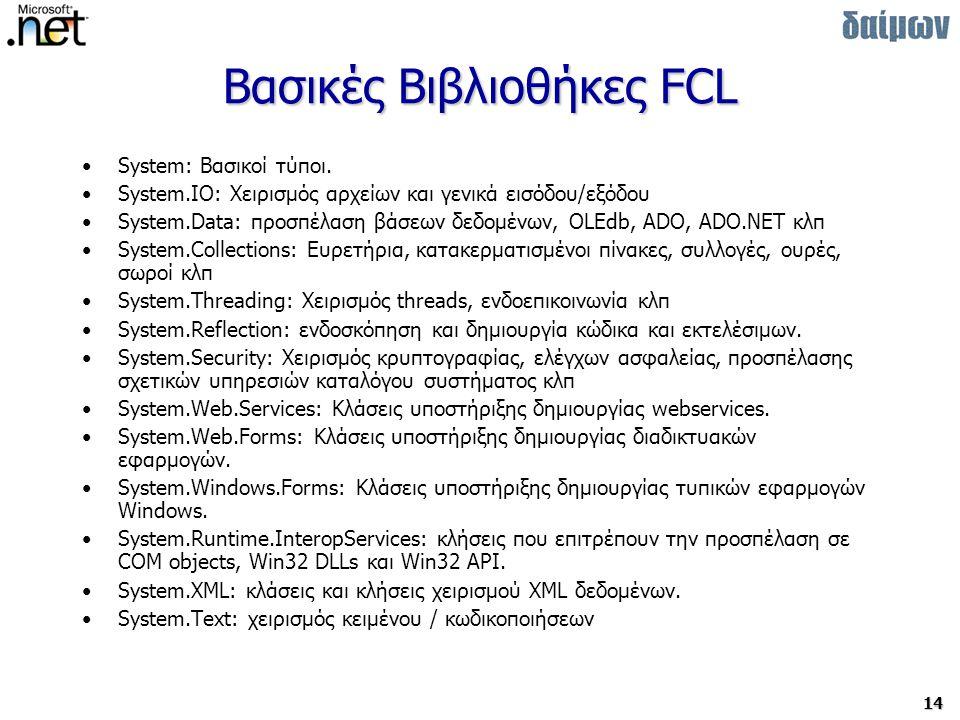14 Βασικές Βιβλιοθήκες FCL System: Βασικοί τύποι.