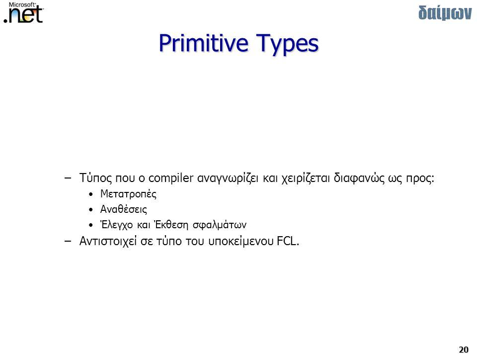 20 Primitive Types –Τύπος που o compiler αναγνωρίζει και χειρίζεται διαφανώς ως προς: Μετατροπές Αναθέσεις Έλεγχο και Έκθεση σφαλμάτων –Αντιστοιχεί σε τύπο του υποκείμενου FCL.