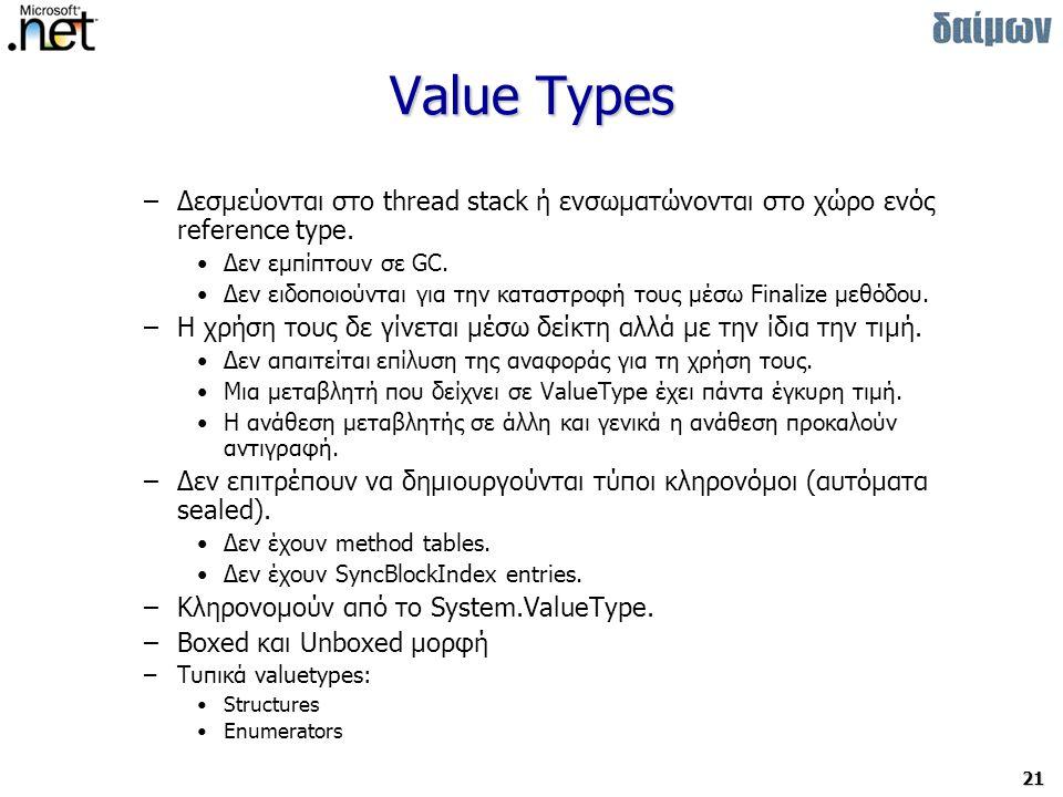 21 Value Types –Δεσμεύονται στο thread stack ή ενσωματώνονται στο χώρο ενός reference type.